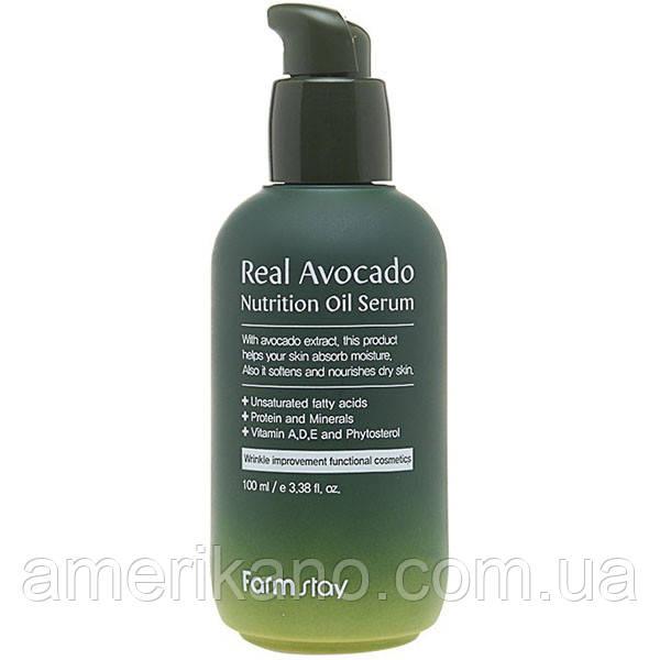 Питательная сыворотка для лица с экстрактом авокадо FarmStay Real Avocado Nutrition Oil Serum 100 мл