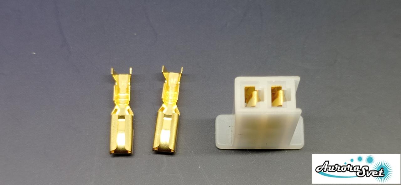 Разъем проводки для скутера / электро самоката / велосипеда 2-х контактный (мама) под обжимку