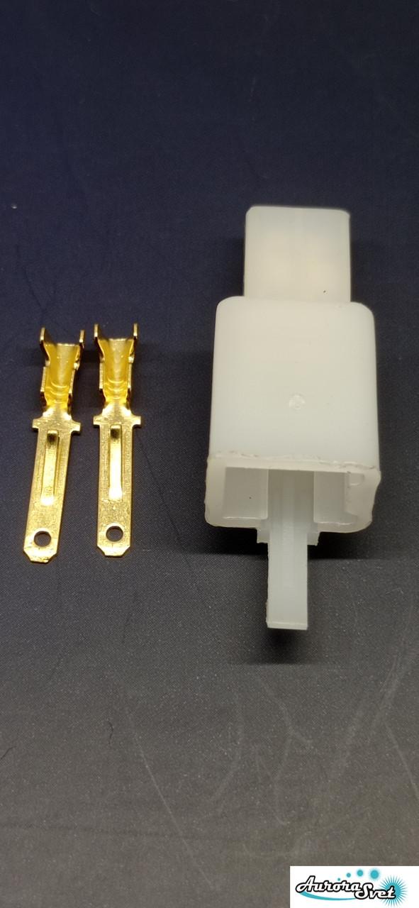 Разъем проводки для скутера / электро самоката / велосипеда 2-х контактный (папа) под обжимку