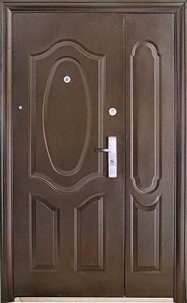 Двустворчатые (полуторные) входные двери ТР-С 121 Китай. Наружные на улицу. Утепленные минватой, фото 2
