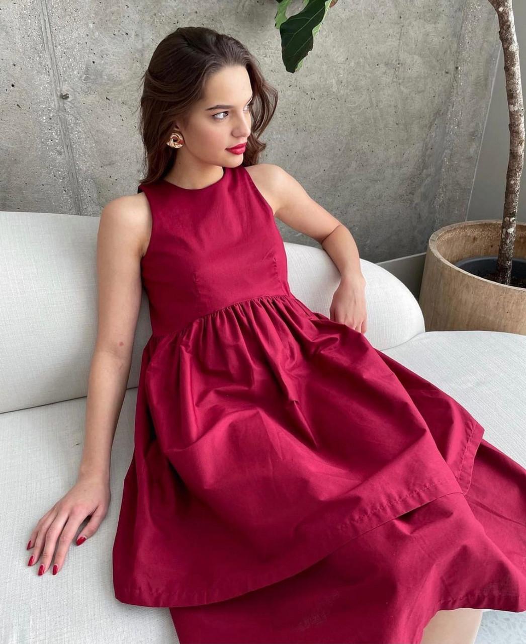 Жіночне плаття без рукавів з подвійною спідницею, 00795 (Бордовий), Розмір 44 (M)