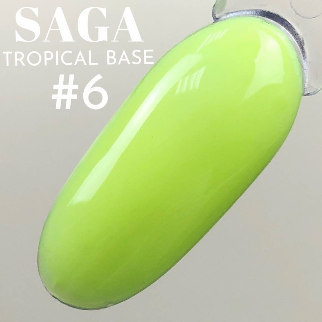 Камуфлюється кольорова база для нігтів Кольору Лайм, жовто-зелений Неон для манікюру SAGA tropical BASE