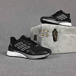Мужские кроссовки Adidas Nova Run X (Чёрные на белой) спортивная легкая обувь О10101