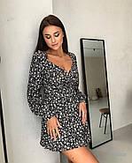 Женственное короткое платье с длинным рукавом на манжете, 00797 (Черный), Размер 44 (M), фото 2