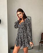 Женственное короткое платье с длинным рукавом на манжете, 00797 (Черный), Размер 44 (M), фото 5