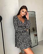 Женственное короткое платье с длинным рукавом на манжете, 00797 (Черный), Размер 44 (M), фото 6