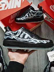 Мужские кроссовки Nike Air Force Skeleton QS Black (черные) крутая молодежная обувь 316PL