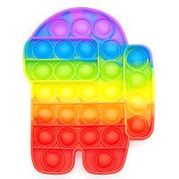 Игрушка антистресс Pop It Поп ит Радужный космонавт цветной бесконечные пузырьки амонг ас игрушки-фиджетеры