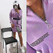 Стильное модное платье в спортивном стиле с длинным рукавом, 00803 (Лиловый), Размер 46 (L), фото 2