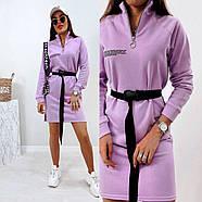 Стильное модное платье в спортивном стиле с длинным рукавом, 00803 (Лиловый), Размер 46 (L), фото 3