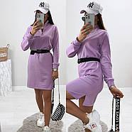 Стильное модное платье в спортивном стиле с длинным рукавом, 00803 (Лиловый), Размер 46 (L), фото 4