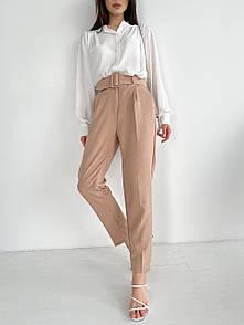 Женские брюки с ремнем Бежевые