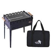 Розкладний мангал валізу на 6 шампурів з сталі з сумкою і решіткою з чорного металу 2 мм