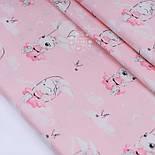 """Клапоть сатину """"Зайчик на гойдалці"""" на рожевому тлі, № 2639с, розмір 29*80 см, фото 2"""