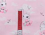 """Клапоть сатину """"Зайчик на гойдалці"""" на рожевому тлі, № 2639с, розмір 29*80 см, фото 3"""