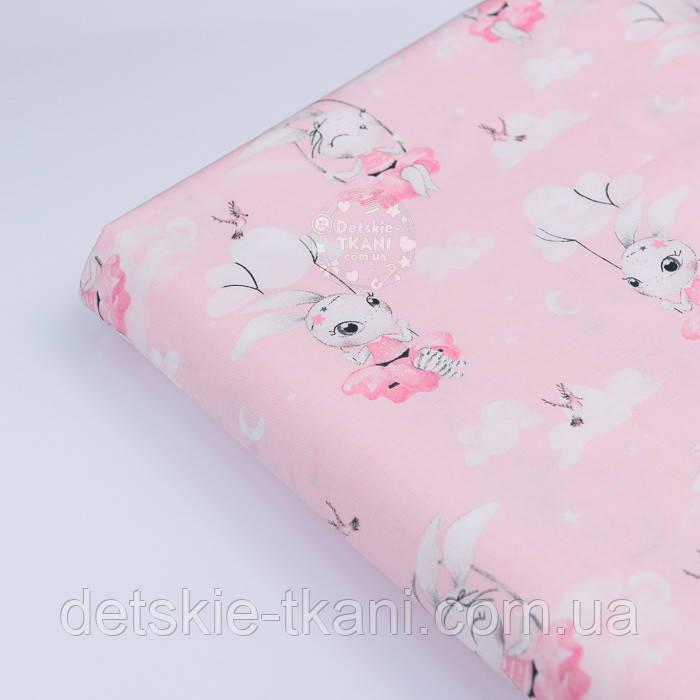 """Клапоть сатину """"Зайчик на гойдалці"""" на рожевому тлі, № 2639с, розмір 29*80 см"""
