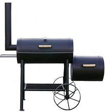 Коптильня і гриль двокамерна з столиком і полицею для вугіль у чорному кольорі GRILLI 777888
