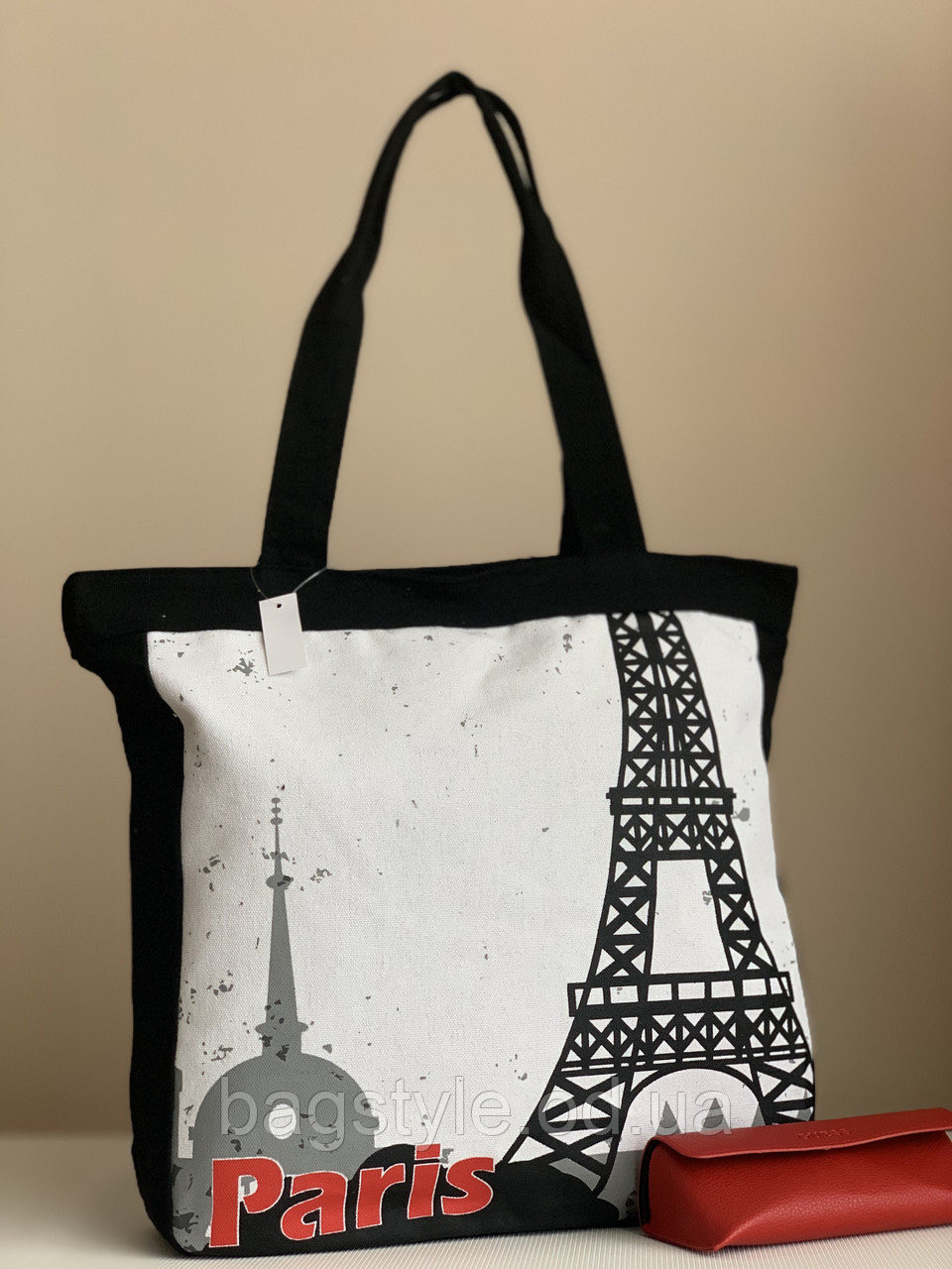 Пляжна сумка шоппер тканинна чорна
