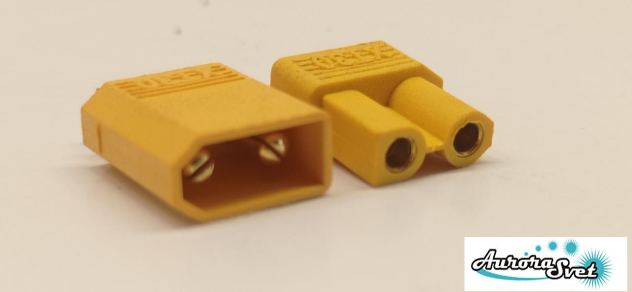 Силовий роз'єм для радіокерованих моделей іграшок 2-х контактний 30 А комплект.Роз'єм для дронов