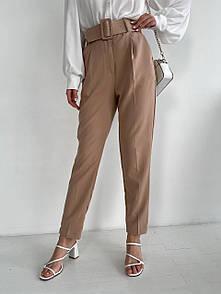 Женские бежевые брюки с ремнем