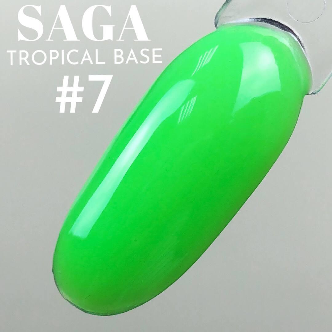 Неоновая Камуфлирующая цветная база для ногтей зеленая SAGA  tropical BASE для маникюра 8мл
