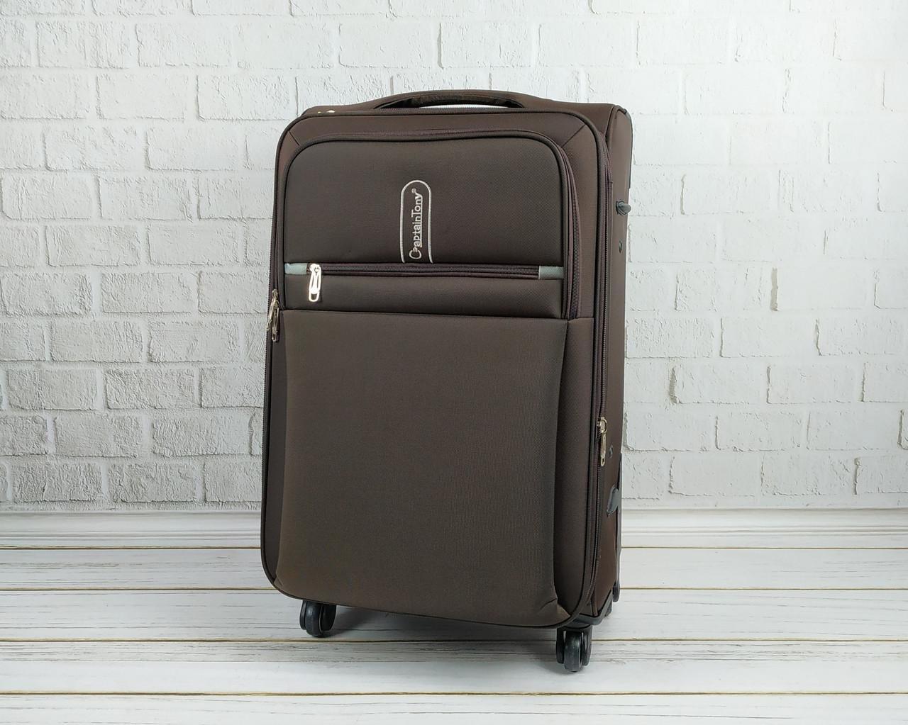 Дорожный тканевый чемодан 6308 (коричневый) на 4 колесах (средний)