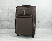 Дорожный тканевый чемодан 6308 (коричневый) на 4 колесах (средний), фото 1