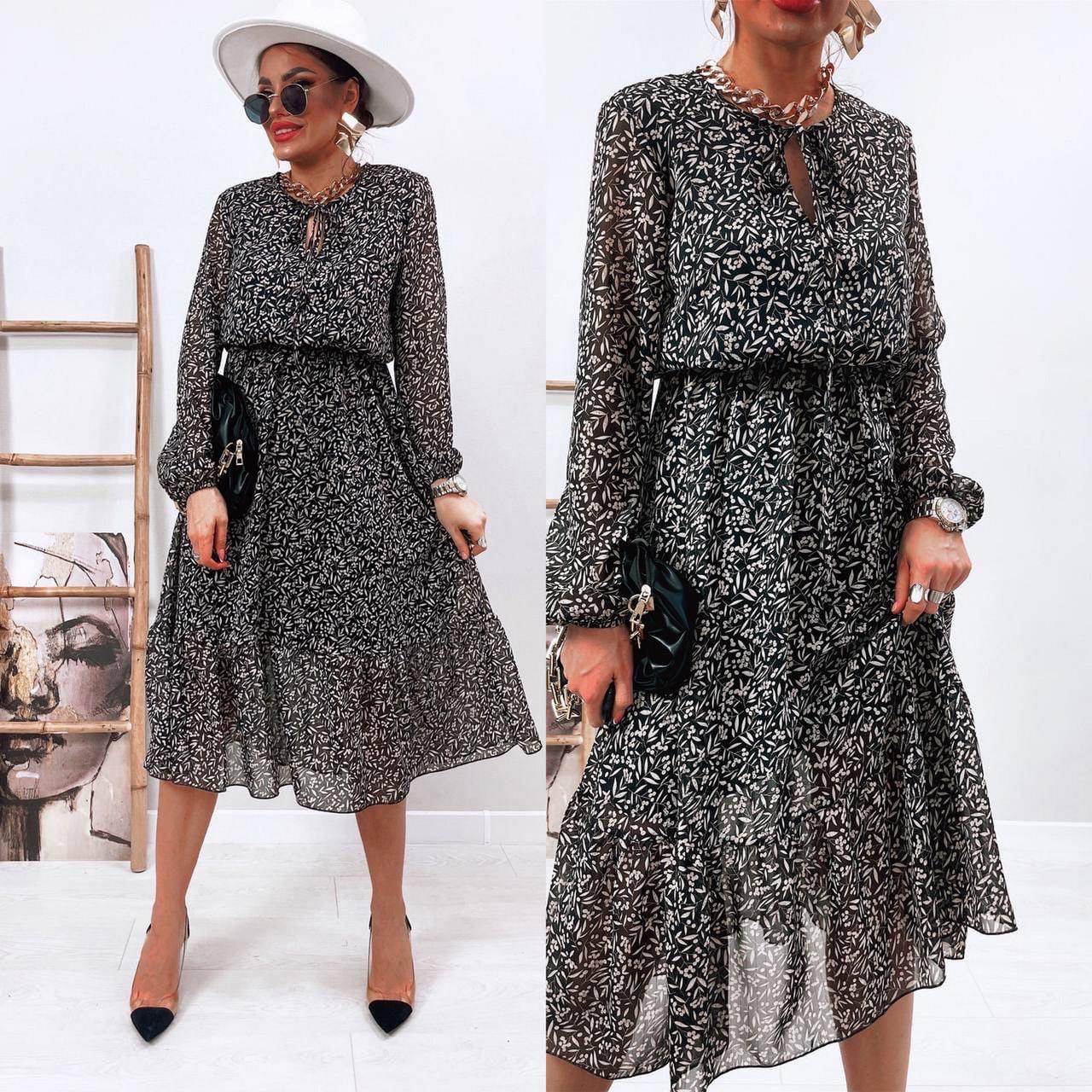 Воздушное шифоновое платье с расклешенной юбкой, 00801 (Черно-белый), Размер 42 (S)