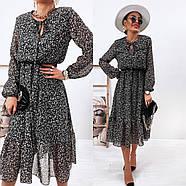 Воздушное шифоновое платье с расклешенной юбкой, 00801 (Черно-белый), Размер 42 (S), фото 2