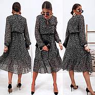 Воздушное шифоновое платье с расклешенной юбкой, 00801 (Черно-белый), Размер 42 (S), фото 3