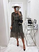 Воздушное шифоновое платье с расклешенной юбкой, 00801 (Черно-белый), Размер 42 (S), фото 4