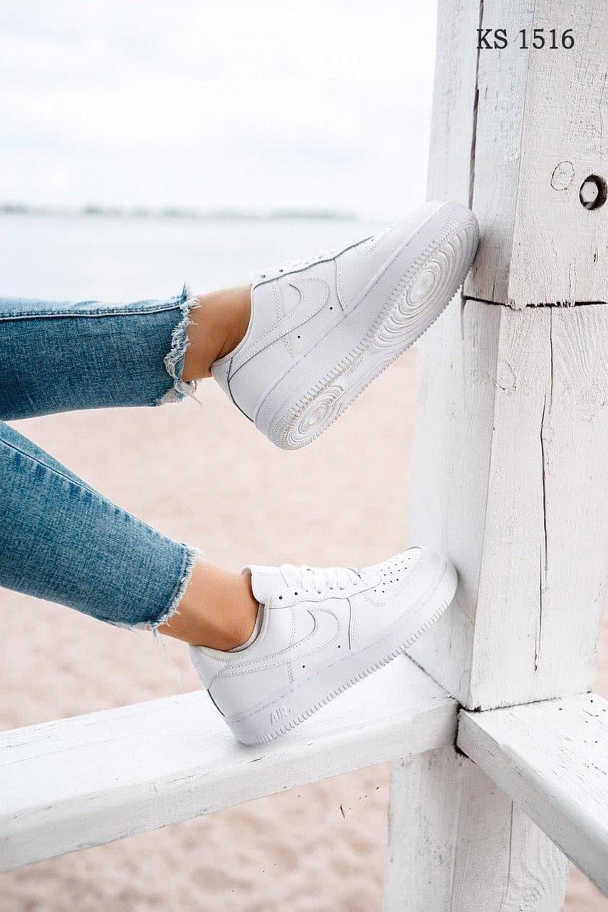 Женские кроссовки Nike Air Force Low (белые) KS 1516 качественная кожаная обувь
