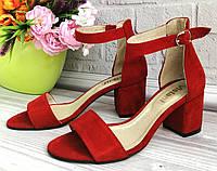 Летние красные замшевые босоножки с открытым носком на низком каблуке 4 см р. 36 37 38 39 40