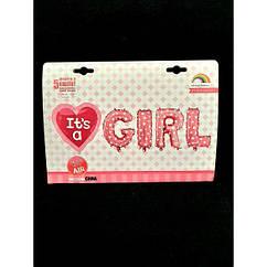 Шар-надпись Girl(70см)+шар сердце(60см)
