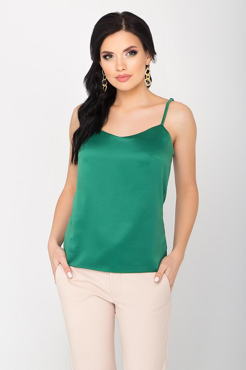 Топ-майка в бельевом стиле на регулируемых бретелях, полуприлегающего силуэта. Зеленый