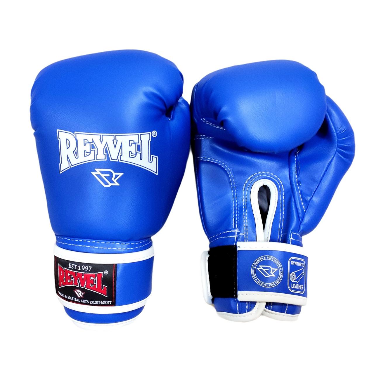 Рукавички для боксу Reyvel винив (штучна шкіра) 12 oz (унцій) синій