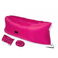 Ламзак надувной диван гамак матрас лежак Lamzac для отдыха, пляжа, природы Розовый (живые фото)