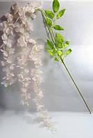 Нежно кремовые свисающие искусственные цветы вистерии 120см,декор, фото 1