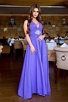 Жіноча стильна сукня на бретелях з розрізом, фото 1