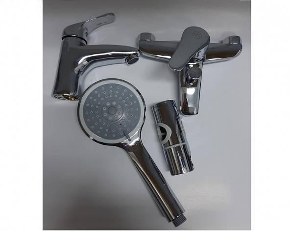 Комплект змішувачів для ванни, умивальника і душ зі стійкою Armatura (KFA) Bazalt 4701-000-00 Польща, фото 2