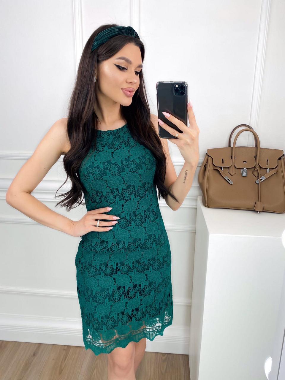 Літнє жіноче плаття по фігурі з мереживної тканини, 00811 (Пляшковий), Розмір 46 (L)