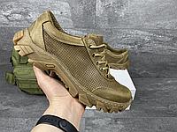 Коричневі перфоровані тактичні шкіряні кросівки | Україна | натуральна шкіра + поліуретан | прошиті, фото 1