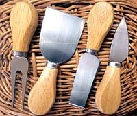 Ножі для сиру набір 4 шт нержавейка + дерево