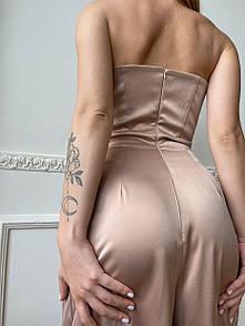 Комбинезон с корсетным лифом и брюками в пол в бежевом оттенке
