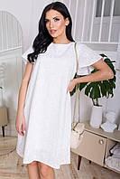Легкое хлопковое платье трапециевидного силуэта, в романтическом стиле. Белого цвета с цветочным узором., фото 1
