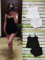 Женская пижама (майка на тонких бретелях, с кружевом+ шортики) XS,S,M, фото 1