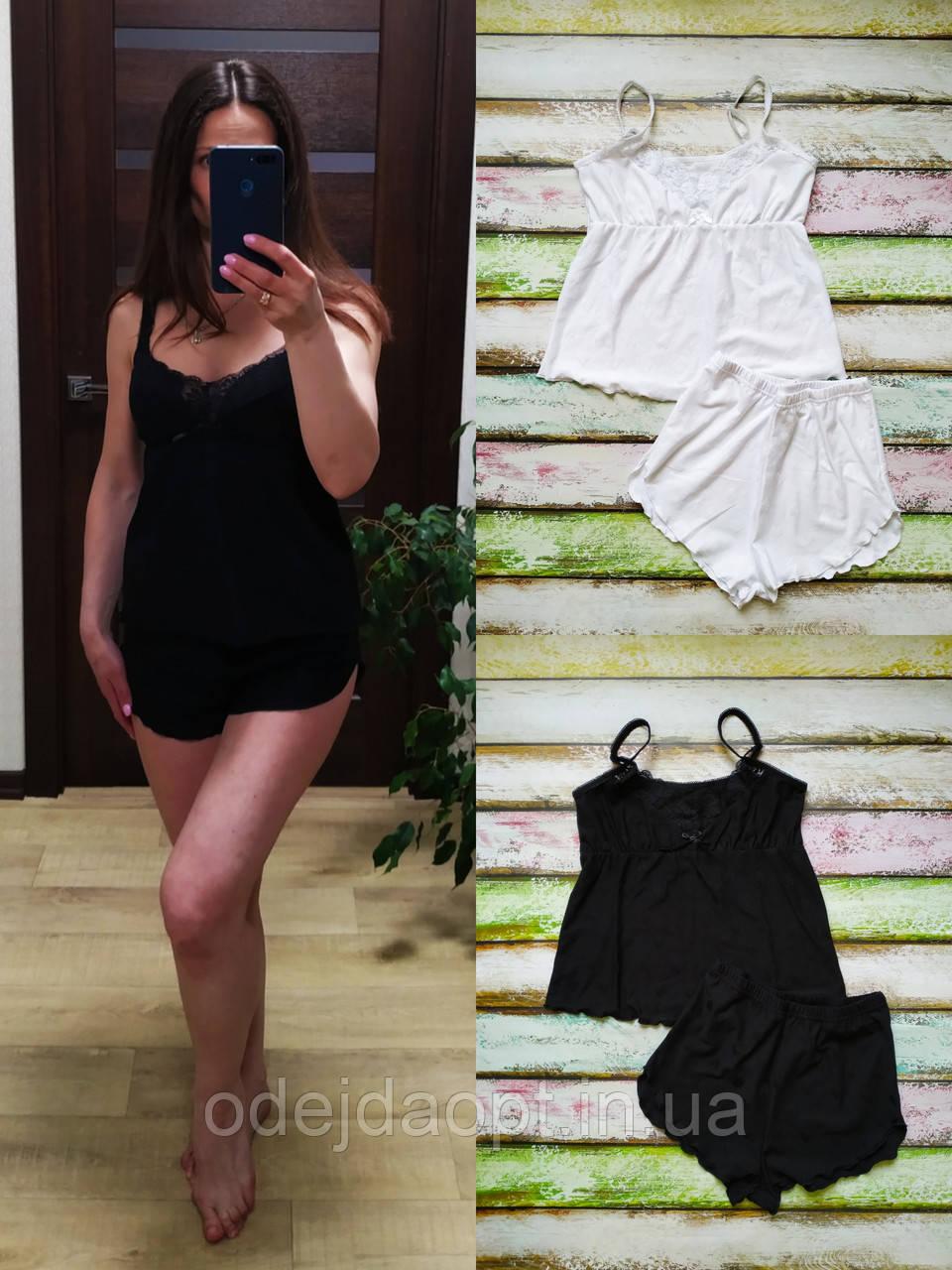 Женская пижама (майка на тонких бретелях, с кружевом+ шортики) XS,S,M