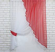 Кухонная занавесь. На карниз 1,5-2м. Цвет красный с белым. Код 069к