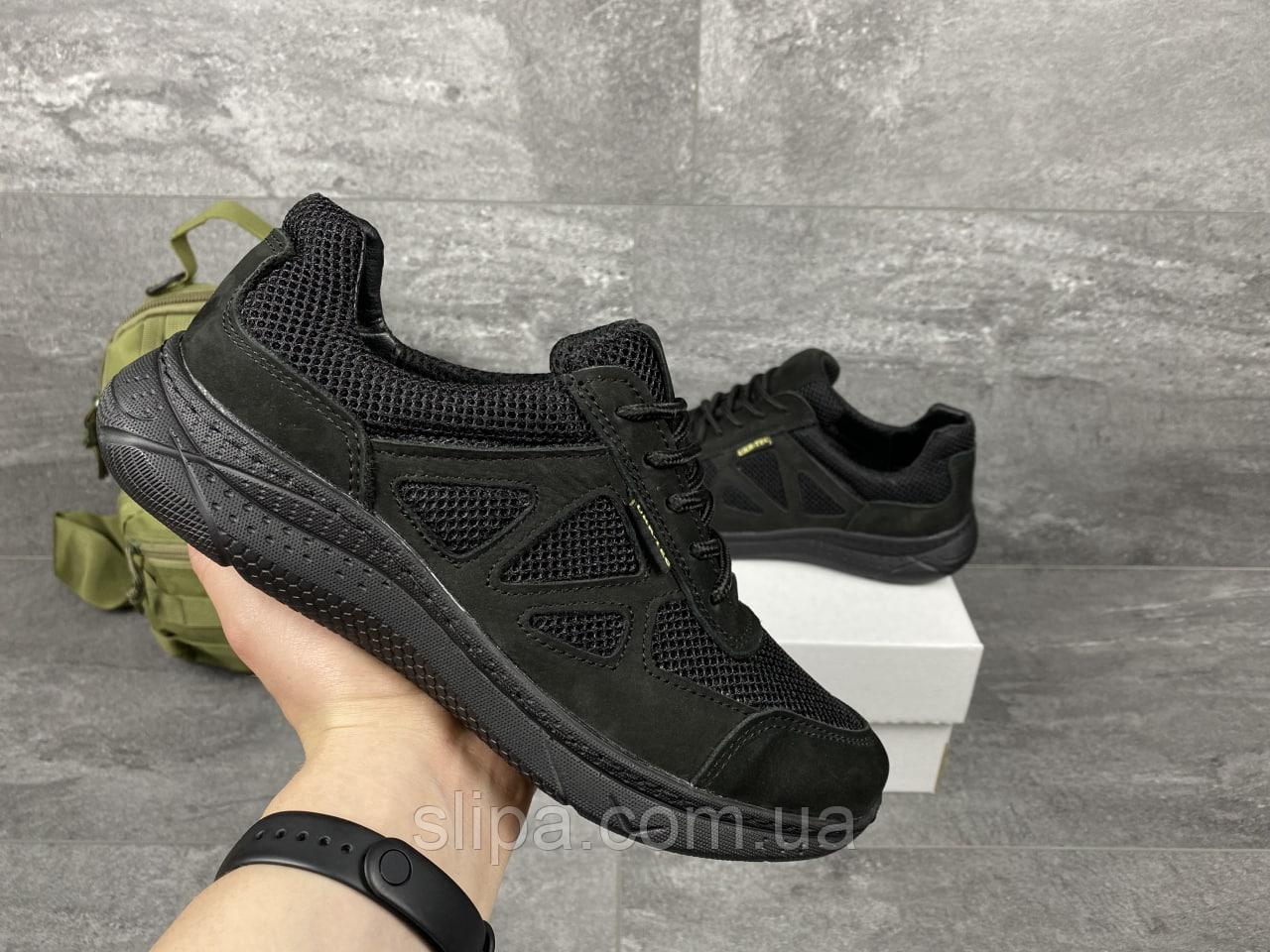Чорні тактичні кросівки з сіткою UKR TEC   Україна   натуральна шкіра/сітка + поліуретан   прошиті