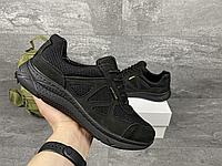 Чорні тактичні кросівки з сіткою UKR TEC   Україна   натуральна шкіра/сітка + поліуретан   прошиті, фото 1